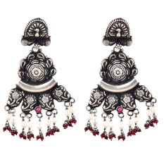 Peacock Stud  92.5 Sterling Silver Earrings Motifs engraved Danglers With Red Chalcedony And Pearl Beads
