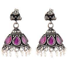 Handmade 92.5 Steling Siver Earrings Ametyst Stone Jhumki With Pearl Beads