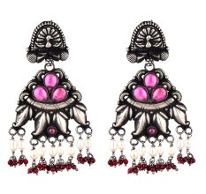 Peacock  Stud 92.5 Sterling Silver Earings Floral Pink Fuchsia Buds Red Chalcedony And pearl Beads Danglers