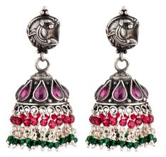 Dual Fish Engraved 92.5 Sterlling Silver Earrings Pink Tourmaline And Green Onyx Stone Jhumki