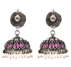 Peacock 92.5 Sterling silver Earring Amethyst Stone Pearl Hangings