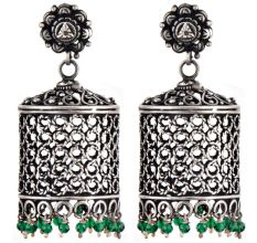 92.5 Sterling Silver Earrings Drum Shaped jali Design With Onyx beads Hangings