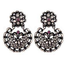 Embossed Design 92.5 Sterling silver Earring Chandbali Amethyst Stone Studdded Danglers