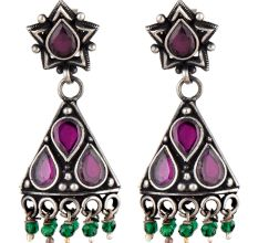 Small 92.5 Sterling silver Earrings Amethst Studded Pyramid  Jhumki with Green Onyx Beads