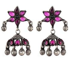 Amethyst Floral 92.5 Sterling Silver Earring Every Day Jhumki For Women