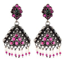 92.5 Sterling Silvre Earrings Triangle Shaped Pink Tourmaline Pearl Beads Hangings