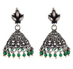 92.5 Sterling Silver Earrings Engraved Floral Stud Green Onyx Beads Jhumki