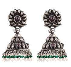 Floral 92.5 Amethyst Stone Engraved Design Green Onyx And Pearl Beads