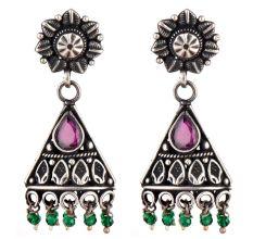 Daily wear 92.5 Floral Stud Amethyst stone Triangle shape Dangle Earrings