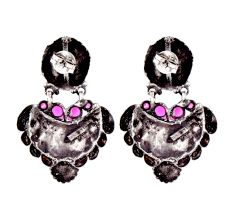 92.5 Sterling Silver Earrings  Lama Stud with Motifs With Fuchsia Jade Stone
