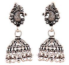Peacock Stud 92.5 Sterling Silver Jhumkis Earring Silver Beads Hangings