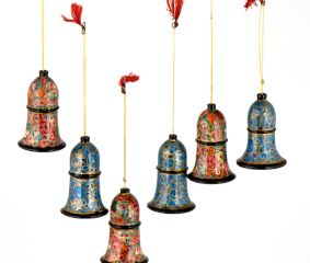 Handmade Paper Mache Bell Christmas Ornaments  Home Decoration Hanging (Set OF 6)