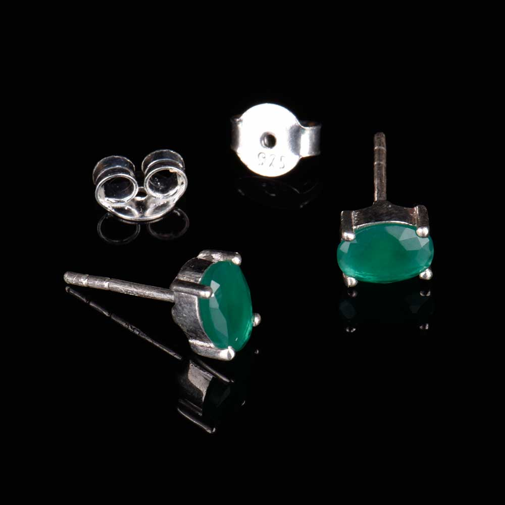 92.5 Sterling Silver Earrings Green Cubic Zirconia Semi Precious Gemstone Stud Earrings