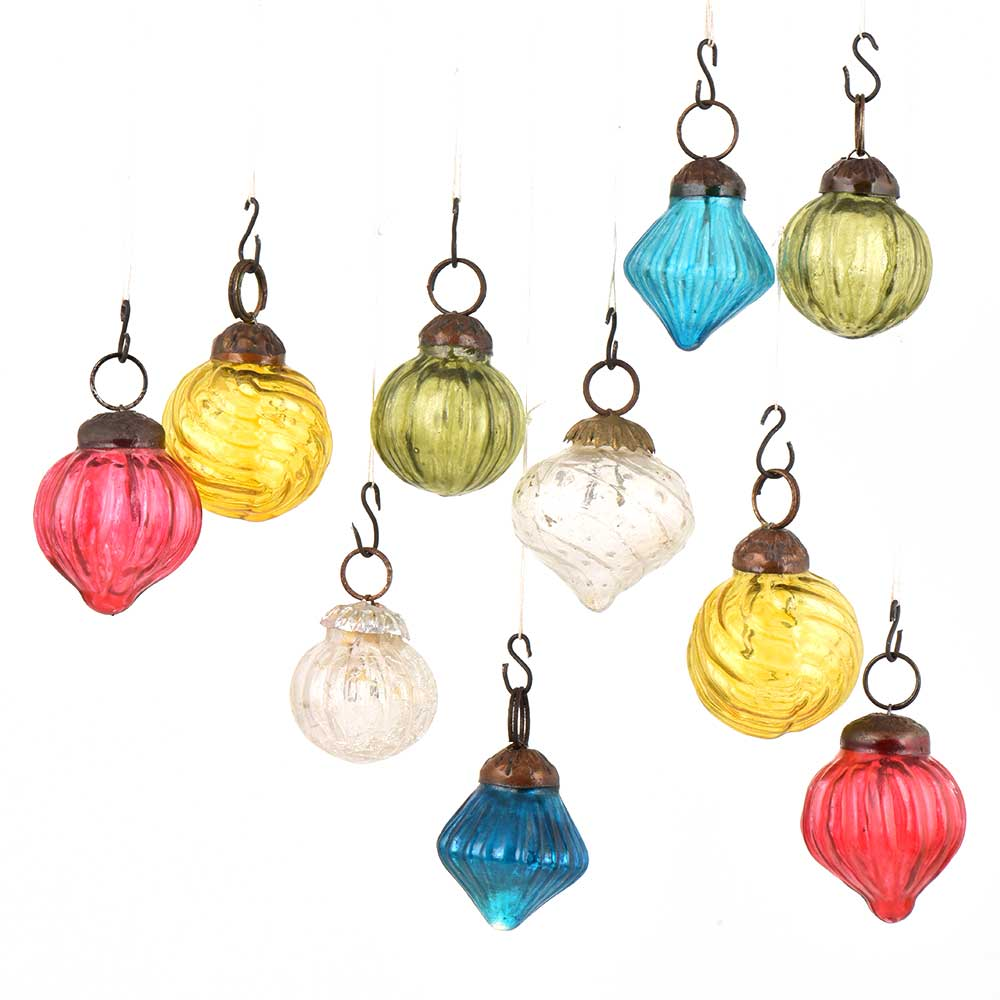 Set of 10 Handmade Pink Olive Yellow White Mini Christmas Ornaments In Assorted Styles