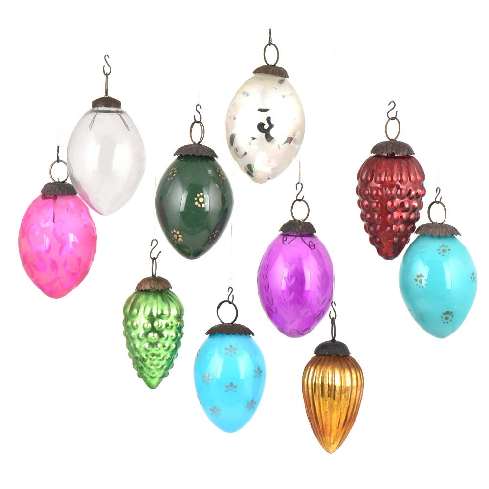 Set of 10 Colorful Glass Christmas Ornaments in Assorted Styles For Party Decoration