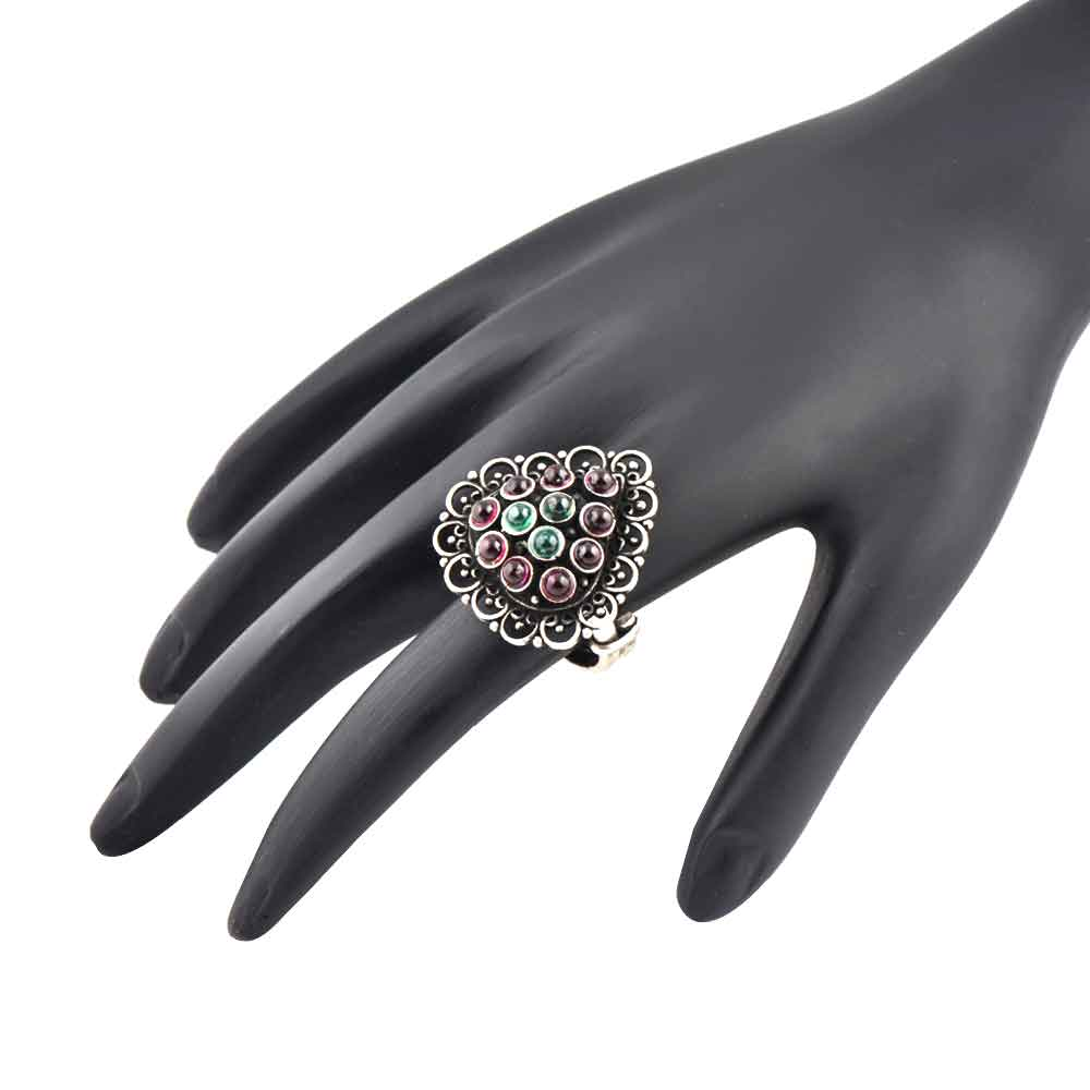 Pyramid 92.5 Sterling Silver Ring With Amethyst And Onyx Stone Oxidized Fashion Jewelry (Free Size)