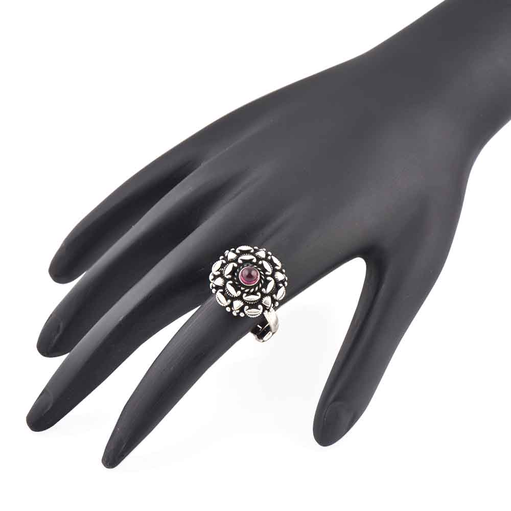 Indian 92.5 Sterling Silver Ring Embossed Design Around Round Amethyst Formal Wear Jewelry (Free Size)