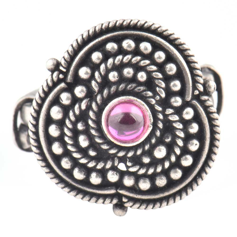 92.5 Sterling silver Ring Oxidized Adjustable Roped Floral Design Trinket Rings (Free Size)