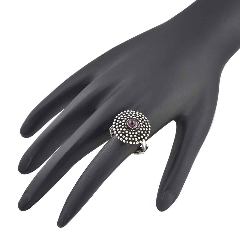 Dotted circles  92.5 Sterling Silver Ring Amethyst Adjustable Handcrafted Party Wear For Women (Free Size)
