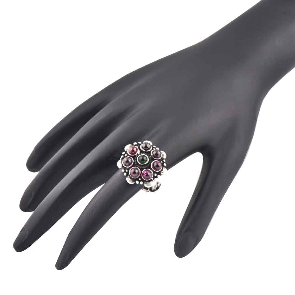 Amethyst Stone 92.5 Sterling Silver Ring Onyx Daily Wear Fashion For Girls (Free Size)
