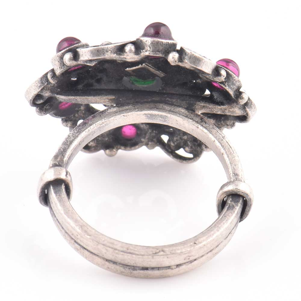 92.5 Sterling Silver Ring Filigree pattern And Round Amethyst Stone (Free Size)