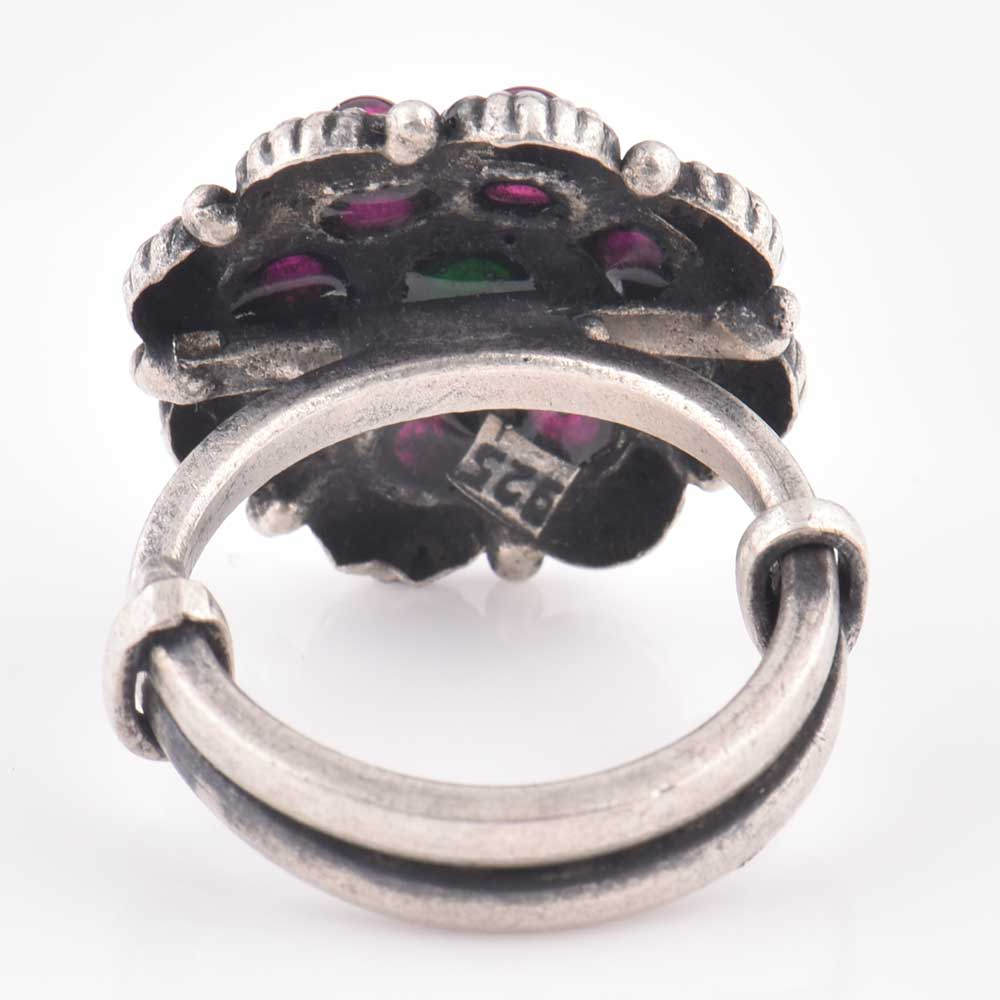 92.5 Sterling Silver Ring Round Amethyst stones and Onyx Studded Statement Ring (Free Size)