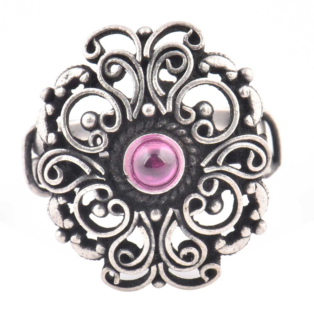 92.5 Sterling Silver Ring Scroll work Amethyst stone Fashion Accessory (Free Size)