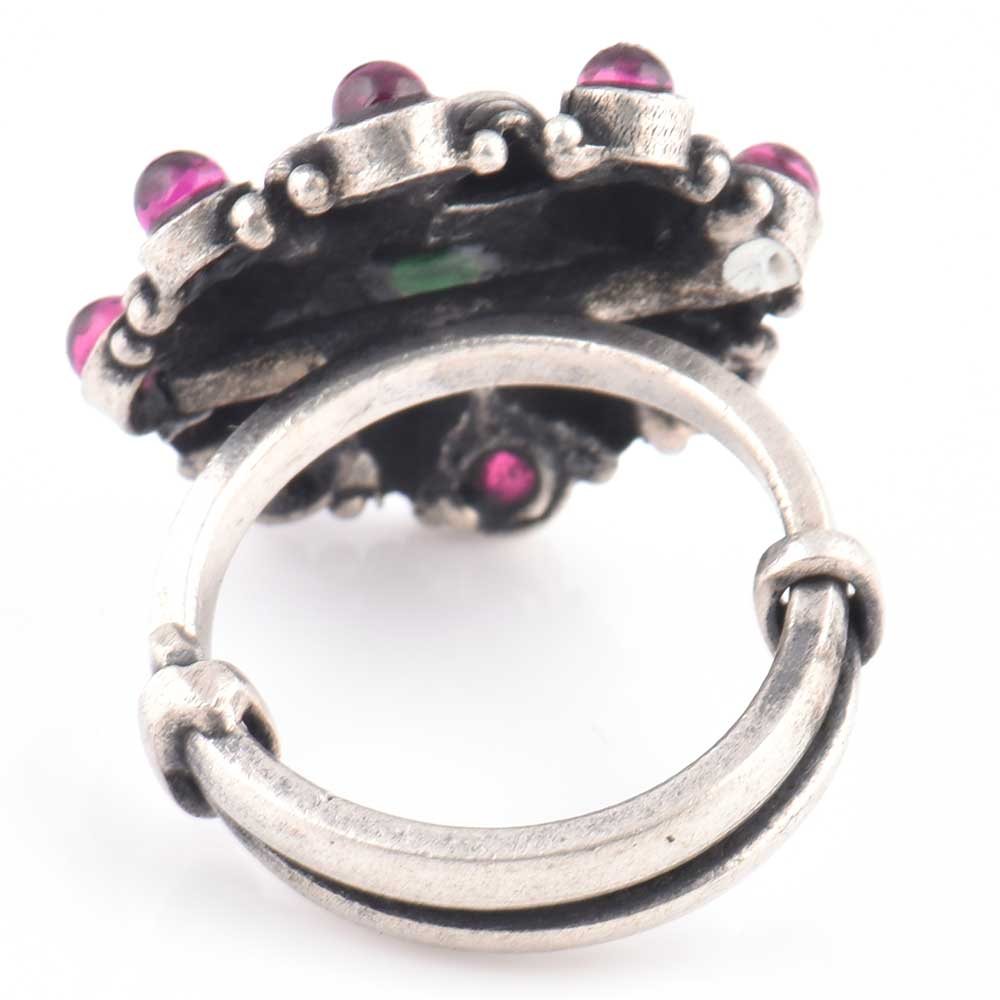 92.5 Sterling Silver Ring Conch Starry Design Amethyst and Onyx Wedding Wear (Free Size)