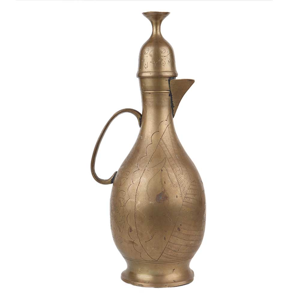 Brass Indian Tea pot Surahi Long Thin Handle Inverted Cup Lid