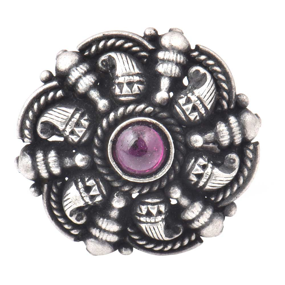 Adjustable 92.5 Sterling Silver Rings Oxidized With Amethyst Stone Traditional Motifs