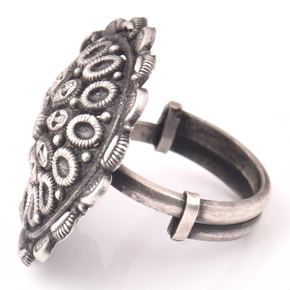 Adjustable 92.5 Sterling silver Ring Oxidized Human Head Motifs Rings Design