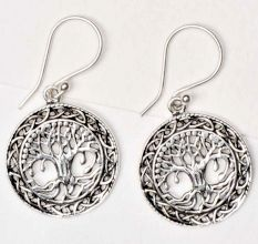 92.5 Sterling Silver Earrings Tree Of Life With Long Roots Circular Knotted Border