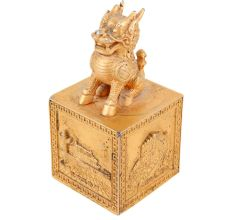 Brass Feng Shui Wealth Foo Dog Lion Beast Statue