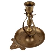 Unique Brass Candle Holder On Decorative Plate
