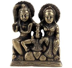 Brass Statue Of Shiv Parvati and Ganesha Sitting Murti Idol