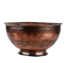 Tribal Pattern Copper Bowl with Intricate Pattern On Rim
