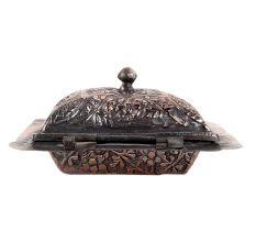 Copper Floral Repousse Soap Bowl With Lid