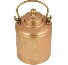 Brass Milk Pot Cylindrical Shape Knob Finial Engraved Cicrcular Lines On Lid