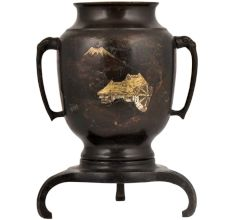 Black Brass Planter Pot Or Fish Pot With Hand Painted Village  Scene