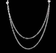 92.5 Sterling Silver Double Layered Necklace With Flower Beads