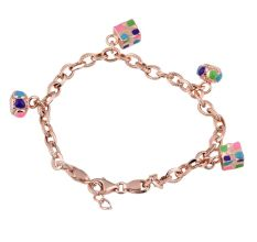 Rose Gold 92.5 Sterling silver Charm Bracelet Colorful Adjustable Jewelry