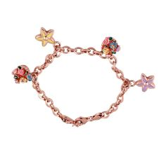 92.5 Sterling Silver Children's Bracelet With Floral Charms In Rose Gold Finish