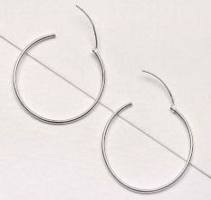 Medium Size 92.5 Sterling Silver Hoop Earrings For Women