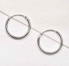 Small 92.5 Sterling Silver Hoop Bali Earrings Fashion Wear