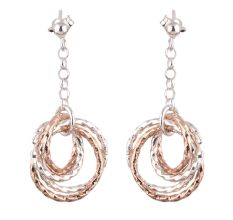 Gold Plated 92.5 Sterling Silver Earrings Circular Drop Danglers