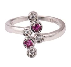92.5 Sterling Silver Toe Ring  American Diamond And Pink Tourmaline Studded Adjustable Women Jewelry