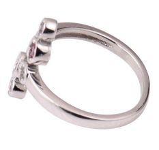 92.5 Sterling Silver Toe Ring  American Diamond And Pink Tourmaline Studded Adjustable Women Jewelry (Pair)
