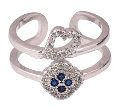 92.5 Sterling Silver Toe Ring Heart Floral American Diamond Tanzanite Modern Jewelry