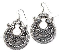 Tribal Hinged 92.5 Sterling Silver Filigree Earring  For women