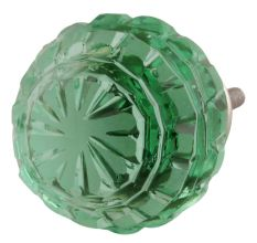 Mint Green Round Patterned Glass Knob